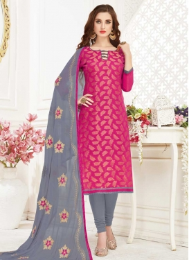 Grey and Rose Pink Embroidered Work Churidar Salwar Suit