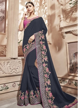 Grey and Rose Pink Embroidered Work Contemporary Style Saree
