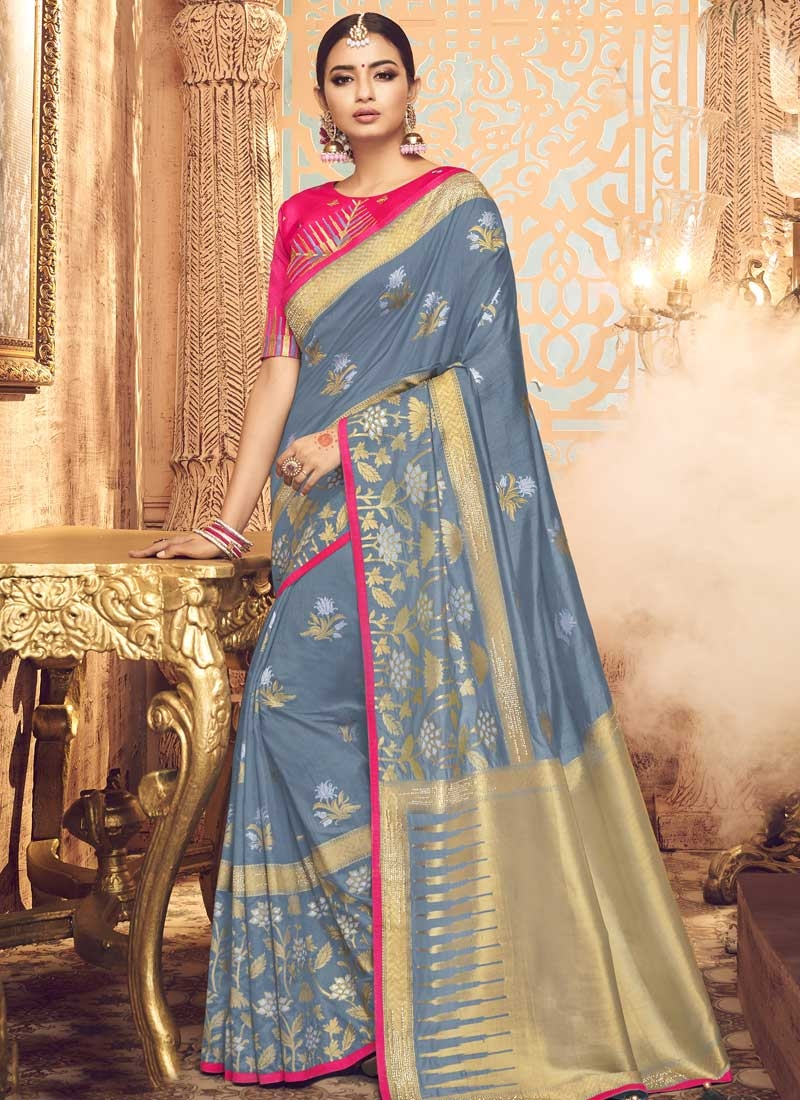 Grey and Rose Pink Embroidered Work Traditional Designer Saree