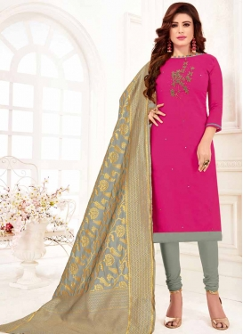 Grey and Rose Pink Embroidered Work Trendy Churidar Salwar Suit