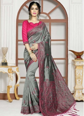 Grey and Rose Pink Embroidered Work Trendy Classic Saree