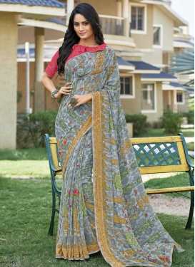 Grey and Rose Pink Faux Georgette Designer Contemporary Style Saree