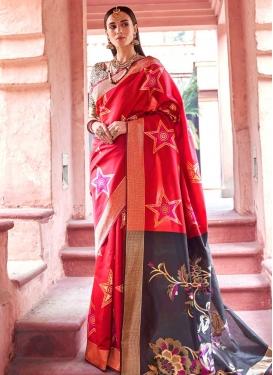Grey and Rose Pink Jacquard Silk Designer Traditional Saree