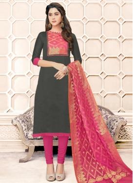 Grey and Rose Pink Lace Work Banarasi Silk Trendy Churidar Salwar Kameez