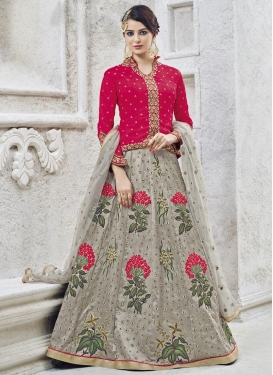 Grey and Rose Pink Long Choli Lehenga