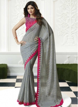 Grey and Rose Pink Shilpa Shetty Faux Georgette Trendy Saree