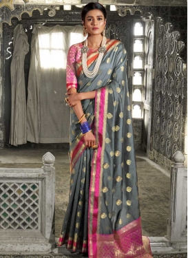 Grey and Rose Pink Traditional Saree
