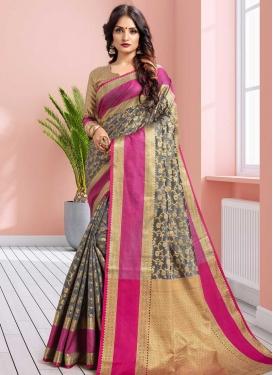 Grey and Rose Pink Traditional Saree
