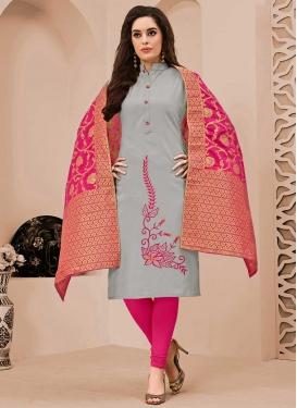 Grey and Rose Pink Trendy Churidar Salwar Kameez For Casual