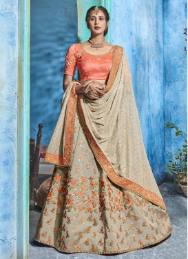 Grey and Salmon Beads Work Silk Trendy A Line Lehenga Choli
