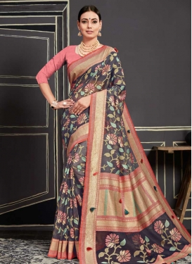 Grey and Salmon Cotton Silk Classic Saree