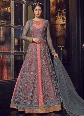 Grey and Salmon Kanjivaram Silk Jacket Style Floor Length Suit
