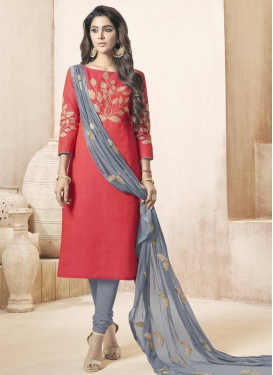 Grey and Salmon Trendy Churidar Salwar Suit