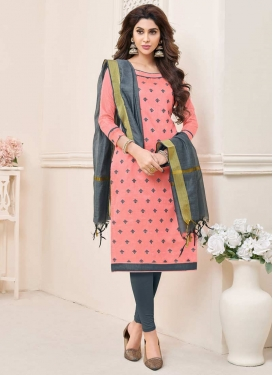 Grey and Salmon Trendy Churidar Suit For Casual