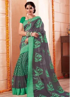 Grey and Sea Green Art Silk Classic Saree