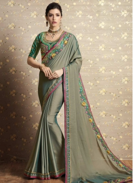 Grey and Sea Green Embroidered Work Silk Georgette Contemporary Style Saree