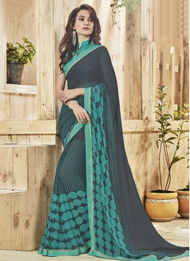 Grey and Sea Green Faux Georgette Classic Saree