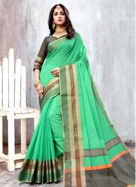 Grey and Sea Green Thread Work Classic Saree
