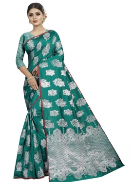 Grey and Sea Green Thread Work Trendy Classic Saree
