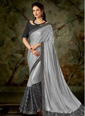 Grey and Silver Color Classic Designer Saree For Ceremonial