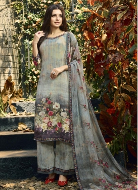 Grey and Silver Color Palazzo Style Pakistani Salwar Suit