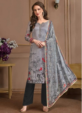 Grey and Silver Color Pant Style Salwar Suit