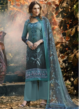 Grey and Teal Embroidered Work Crepe Silk Palazzo Straight Suit
