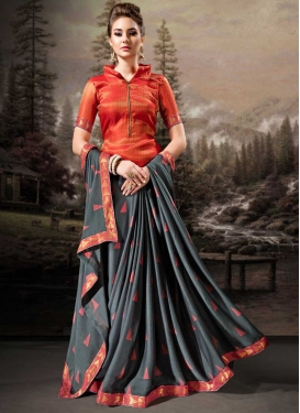 Grey and Tomato Faux Chiffon Trendy Classic Saree For Ceremonial