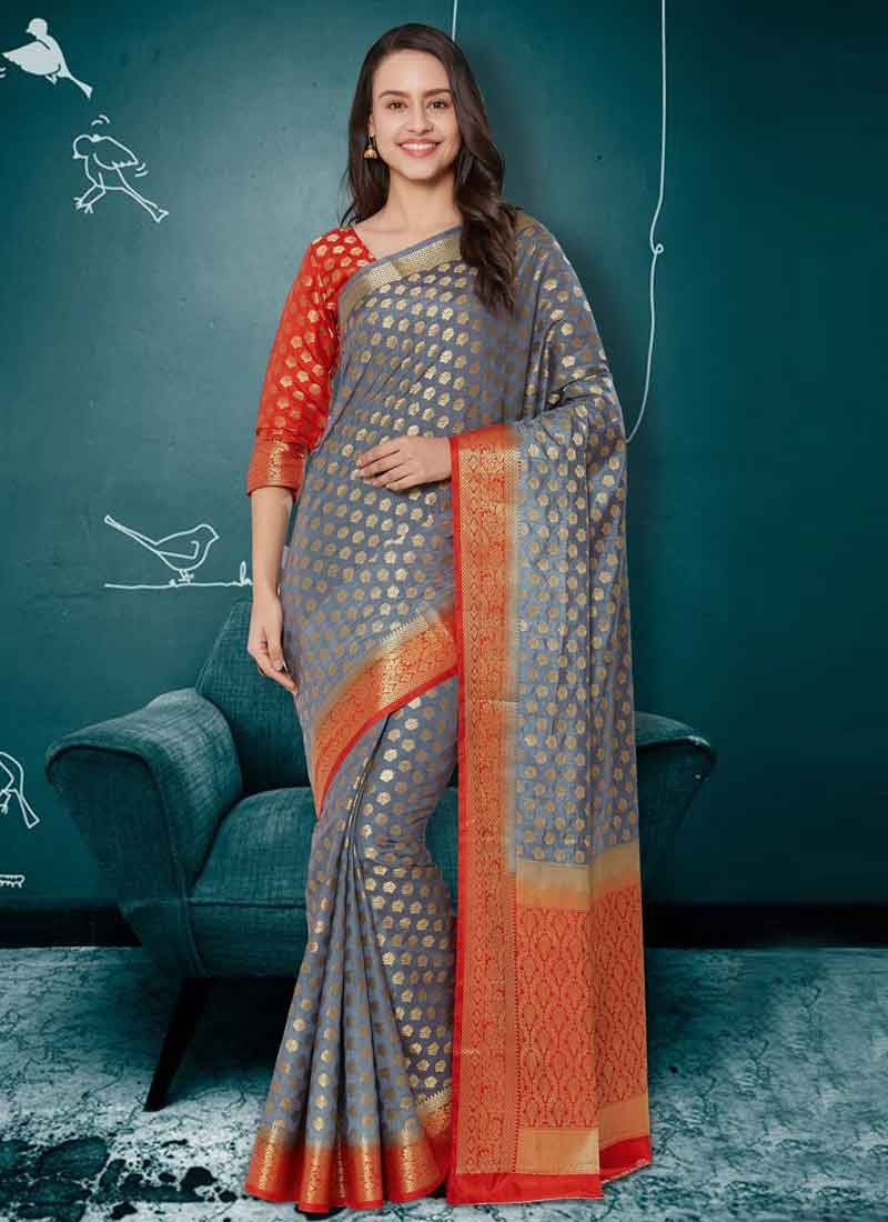Grey and Tomato Traditional Saree