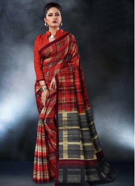 Grey and Tomato Tussar Silk Designer Traditional Saree For Ceremonial