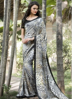 Grey and White Geometric Print Work Contemporary Saree