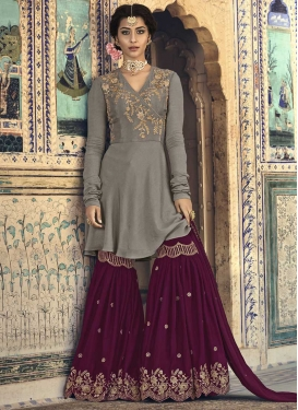 Grey and Wine Sharara Salwar Kameez For Festival