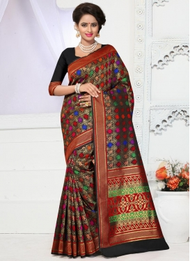 Gripping Banarasi Silk Resham Work Contemporary Saree For Festival