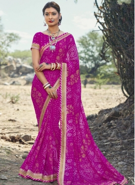 Gripping Bandhej Print Work Faux Georgette Classic Saree