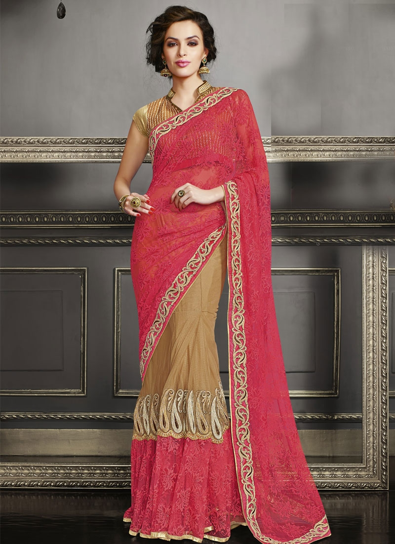 Gripping Booti Work Net Lehenga Saree