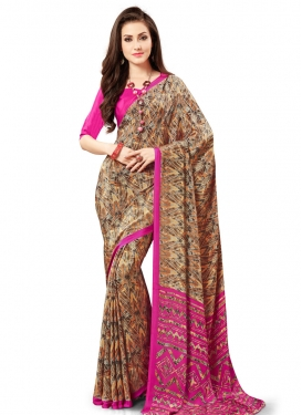 Gripping Brown and Rose Pink Print Work Classic Saree