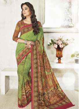 Gripping Digital Print Work Contemporary Saree For Festival