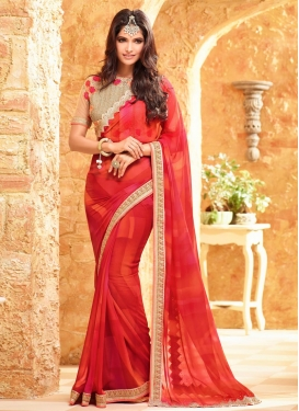Gripping Embroidered Work Faux Georgette Contemporary Saree