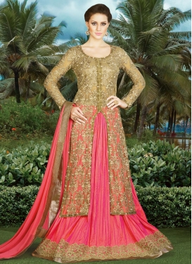 Gripping  Embroidered Work Net Beige and Hot Pink Kameez Style Lehenga For Festival