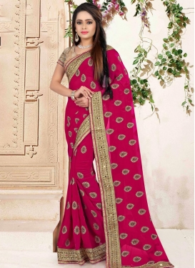 Gripping Faux Georgette Lace Work Rose Pink Traditional Designer Saree
