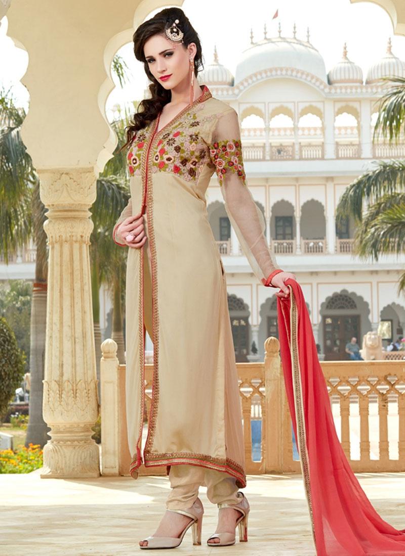 Gripping Floral Work Long Length Designer Salwar Suit
