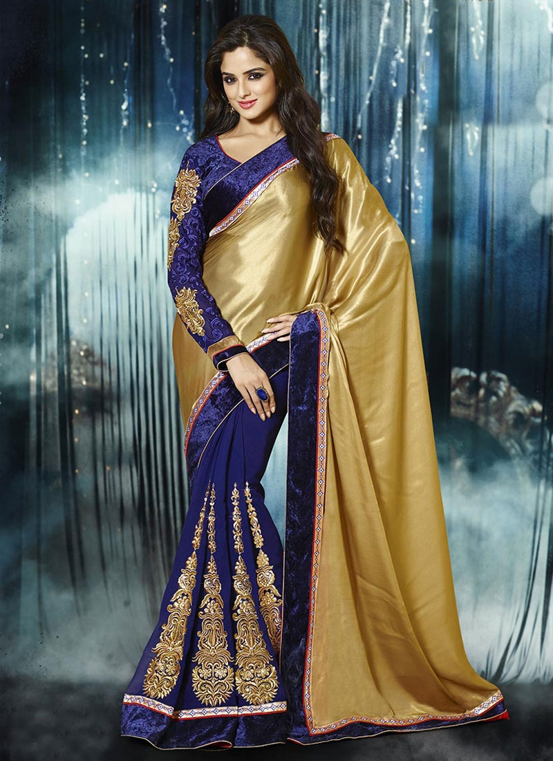 Gripping Georgette And Satin Half N Half Party Wear Saree