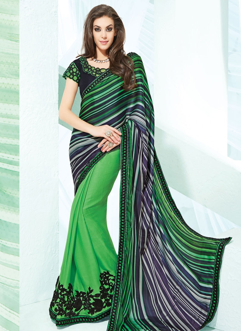 Gripping Green Color Silk Georgette Half N Half Party Wear Saree