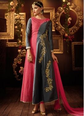Gripping Grey Color Resham Work Ankle Length Designer Salwar Suit