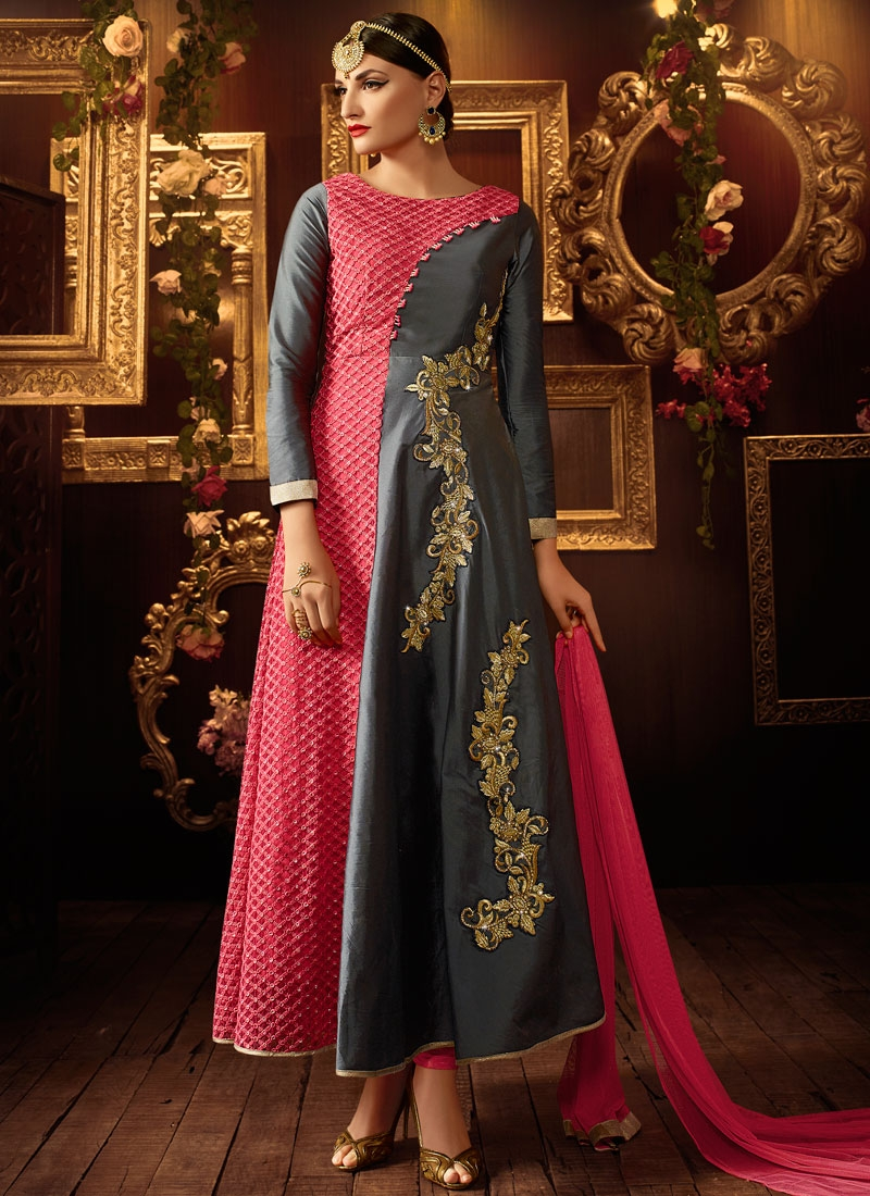 Gripping Grey Color Resham Work Ankle Length Designer Salwar Suit