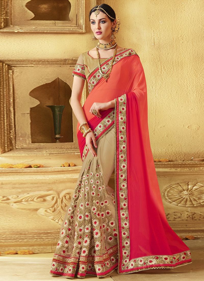 Gripping Lace Work Net Half N Half Designer Saree
