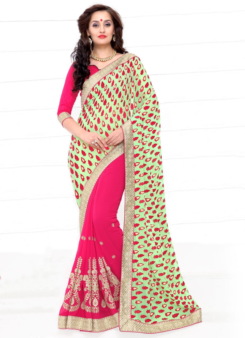 Gripping Mint Green Color Half N Half Party Wear Saree