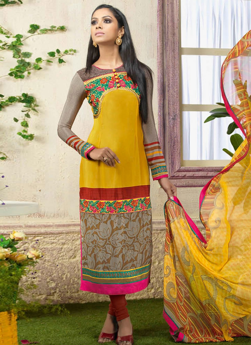 Gripping Mustard Color Lace Work Churidar Suit