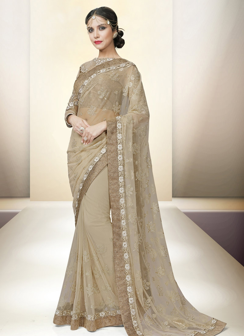 Gripping Net Beige Color Lace Work Party Wear Saree