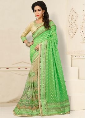 Gripping Net Half N Half Saree